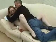 Redhead subdued and stripped of her clothes before he ties her wrists